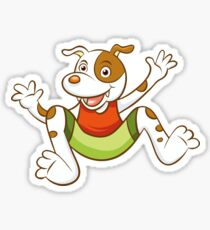 Cute Funny Cartoon Silly Jumping Dog Character Doodle Animal Drawing Sticker