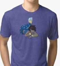 Cute Funny Cartoon MermaidCharacter Doodle Animal Drawing Tri-blend T-Shirt