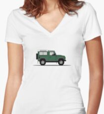 A Graphical Interpretation of the Defender 90 Station Wagon NAS Women's Fitted V-Neck T-Shirt