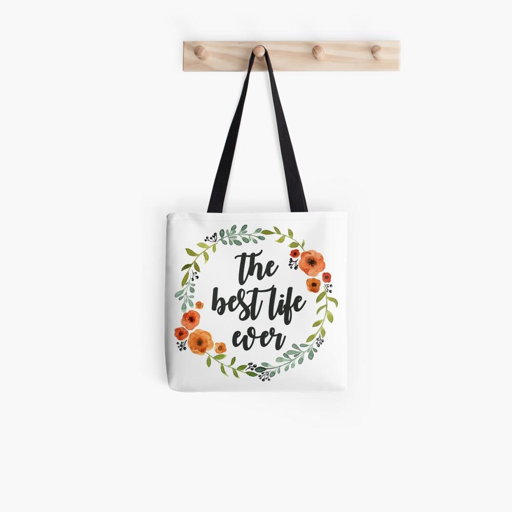 Blumen Krone der besten Live-je Stofftasche
