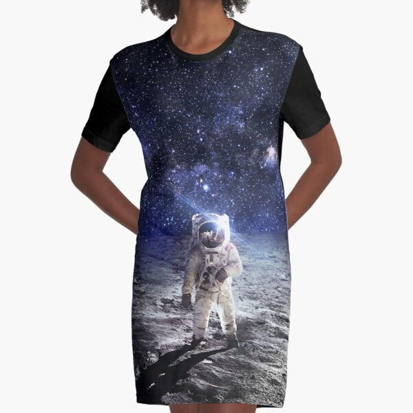 Space Astronaut Moon Landing Alien Galaxy Graphic T-Shirt Dress