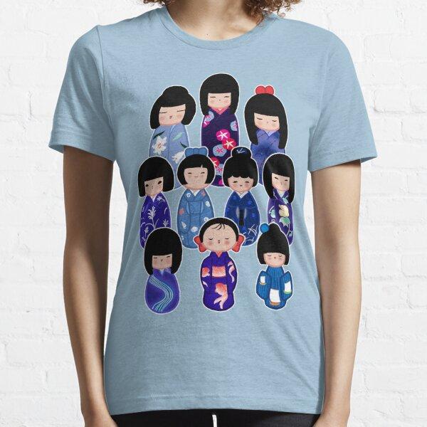 Kokeshi in Blue Essential T-Shirt