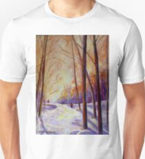 CROSS COUNTRY SKIING CANADIAN WINTER SCENES  Unisex T-Shirt