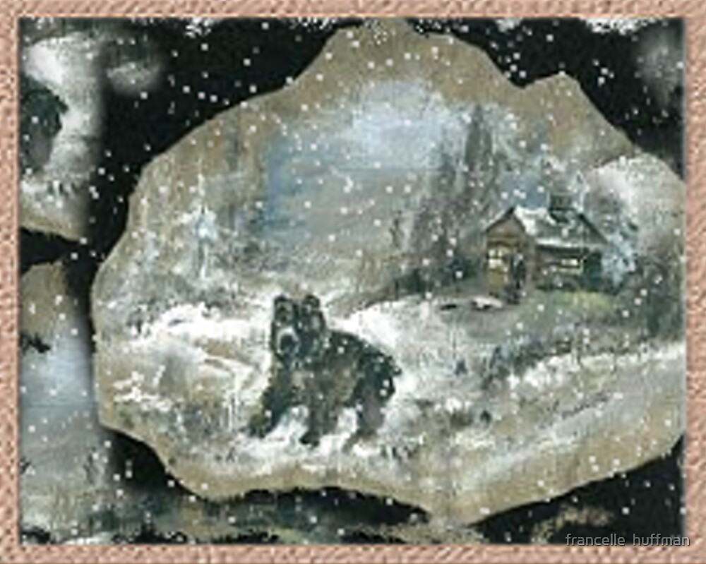 bear in snow by cabin in deep forest by francelle  huffman