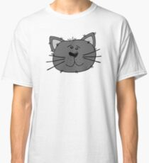 Cute Funny Cartoon Silly Gray Cat Face Character Doodle Animal Drawing Classic T-Shirt