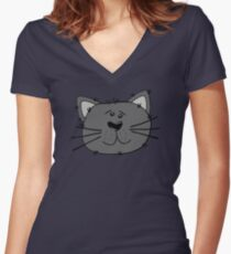 Cute Funny Cartoon Silly Gray Cat Face Character Doodle Animal Drawing Women's Fitted V-Neck T-Shirt