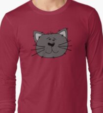 Cute Funny Cartoon Silly Gray Cat Face Character Doodle Animal Drawing T-Shirt