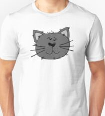 Cute Funny Cartoon Silly Gray Cat Face Character Doodle Animal Drawing Unisex T-Shirt