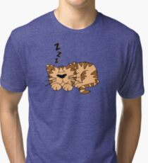 Cute Funny Cartoon Silly Sleeping Cat Character Doodle Animal Drawing Tri-blend T-Shirt