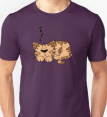 Cute Funny Cartoon Silly Sleeping Cat Character Doodle Animal Drawing Unisex T-Shirt