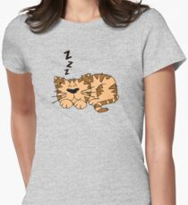 Cute Funny Cartoon Silly Sleeping Cat Character Doodle Animal Drawing Womens Fitted T-Shirt