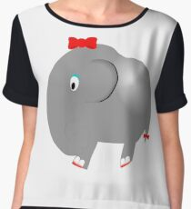 Cute Funny Cartoon Silly Elephant Girl Character Doodle Animal Drawing Chiffon Top