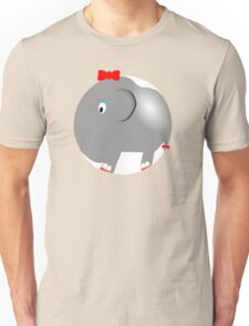 Cute Funny Cartoon Silly Elephant Girl Character Doodle Animal Drawing Unisex T-Shirt