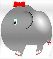 Cute Funny Cartoon Silly Elephant Girl Character Doodle Animal Drawing Poster