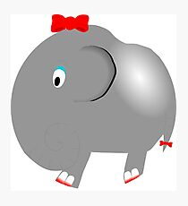 Cute Funny Cartoon Silly Elephant Girl Character Doodle Animal Drawing Photographic Print