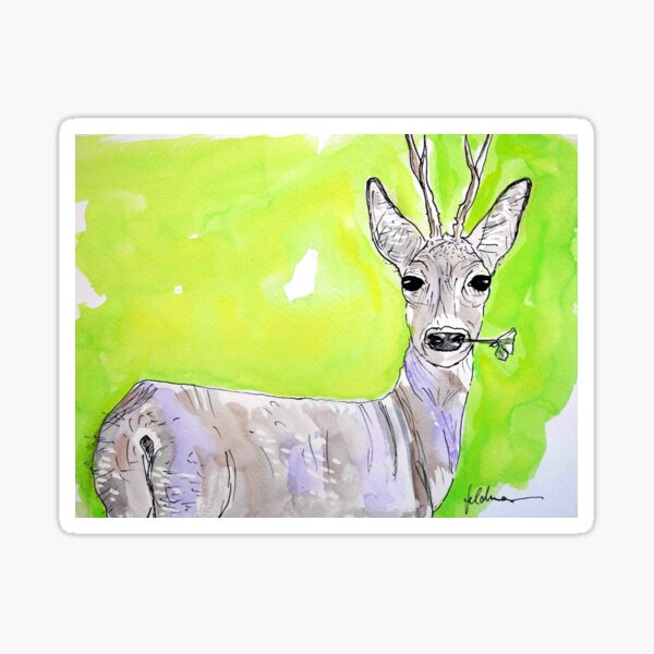 DEER ON THE GREEN - WATERCOLOUR AND INK Sticker