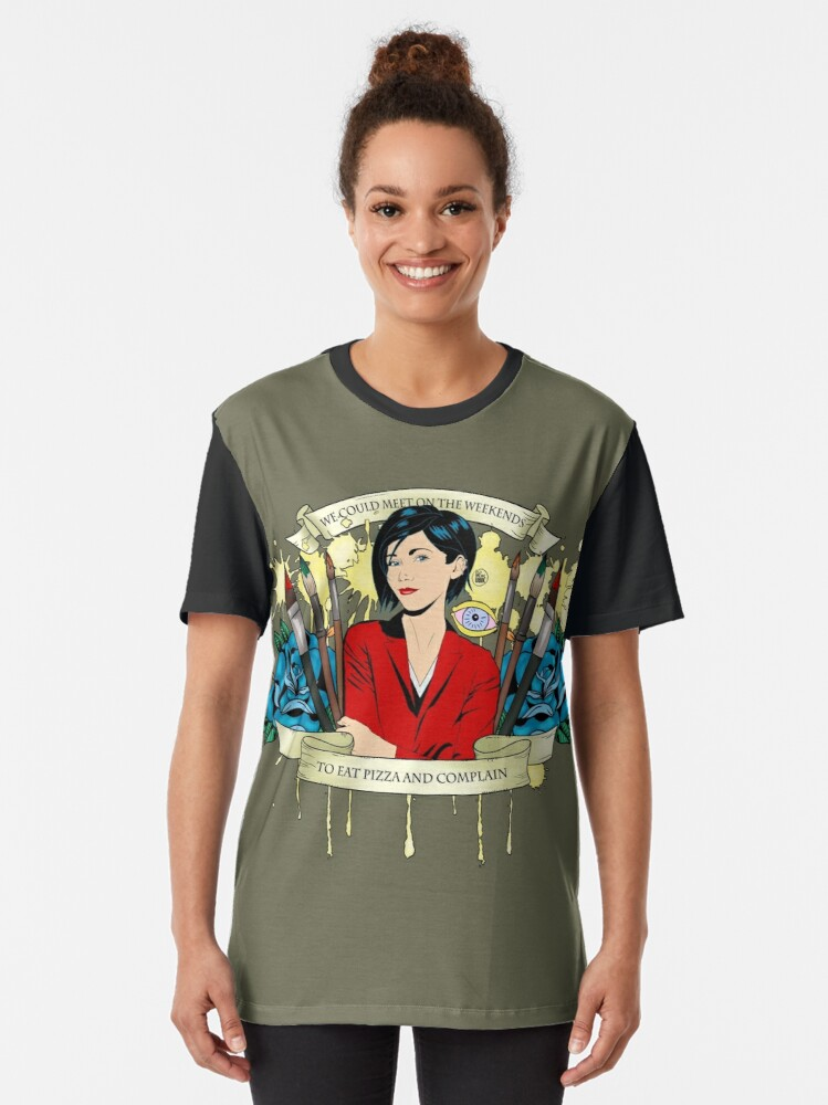 Alternate view of Jane Lane - Weekends Pizza Graphic T-Shirt