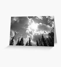 Peeking Sun - Black & White Greeting Card