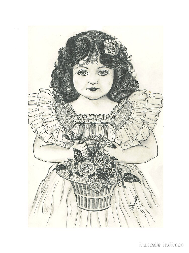 victorian girl with basket of flowers  by franniesbest