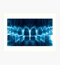 Blue Glowing Teeth Smile Graphic Design Art Print