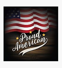 Proud American rustic USA flag design. Photographic Print