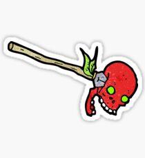 cartoon spear in skull Sticker