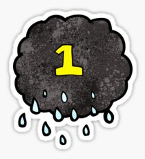 cartoon raincloud with number one Sticker