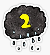cartoon raincloud with number two Sticker
