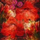 Artistic flowers in passionated red by walstraasart