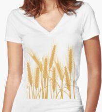 Ears of wheat Women's Fitted V-Neck T-Shirt