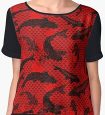 Koi Wave Red Chiffon Top