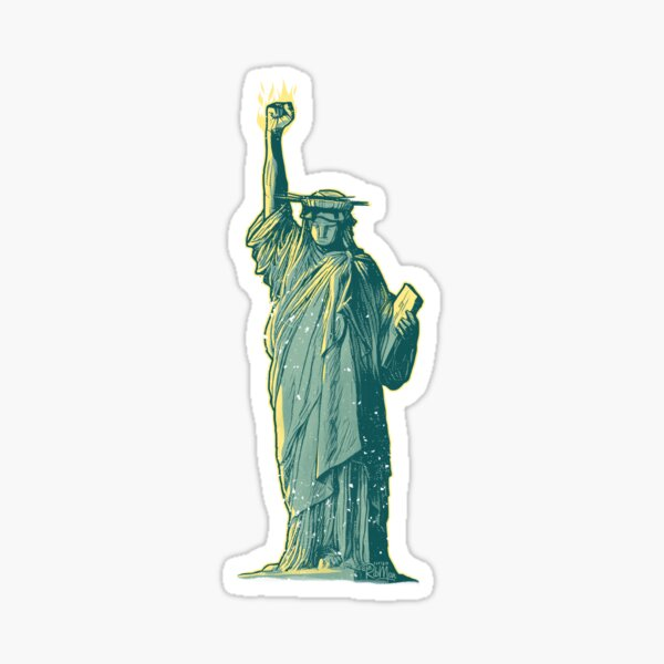 PERSIST - Lady Liberty Flaming Fist Sticker