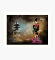 Japanese girl with a landscape in the background. Art Print