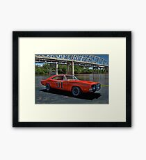 """1968 Dodge Charger RT """"General Lee"""" Replica Framed Print"""