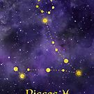 Pisces Zodiac constellation, birthday February to March, astronomy, astrology, horoscope, watercolour space painting with gold effect stars, font and symbol. by Sandra O'Connor