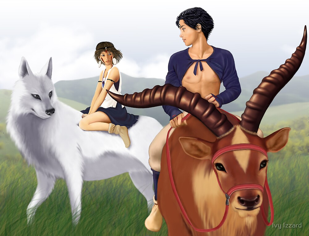 Ashitaka, San, Yakul and Moro's pup by Ivy Izzard