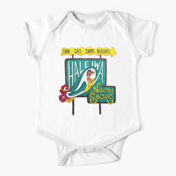 Hale'iwa North Shore Sign - WOMAN / DRAWING Short Sleeve Baby One-Piece