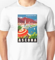 Switzerland Ascona Vintage Travel Poster Restored Unisex T-Shirt