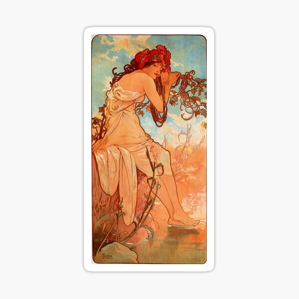 Été, 1896, Aplhonse Mucha, art nouveau Sticker