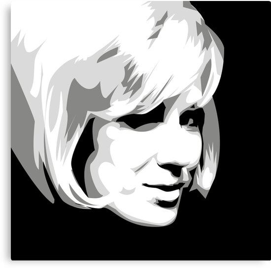 Dusty springfield pop icon black and white portrait by gregs celeb art