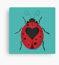 Heart Spotted Ladybug Canvas Print