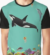 Striking Underwater Orca Whale Fish Collage  Graphic T-Shirt