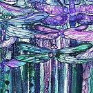 Dragonfly Bloomies 4 - Lavender Teal by Carol  Cavalaris