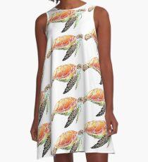 Sea Turtle Colored Pencil Art A-Line Dress