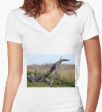 Coastal Driftwood Women's Fitted V-Neck T-Shirt