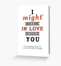 """Divergent: """"I might be in love with you."""" Greeting Card"""