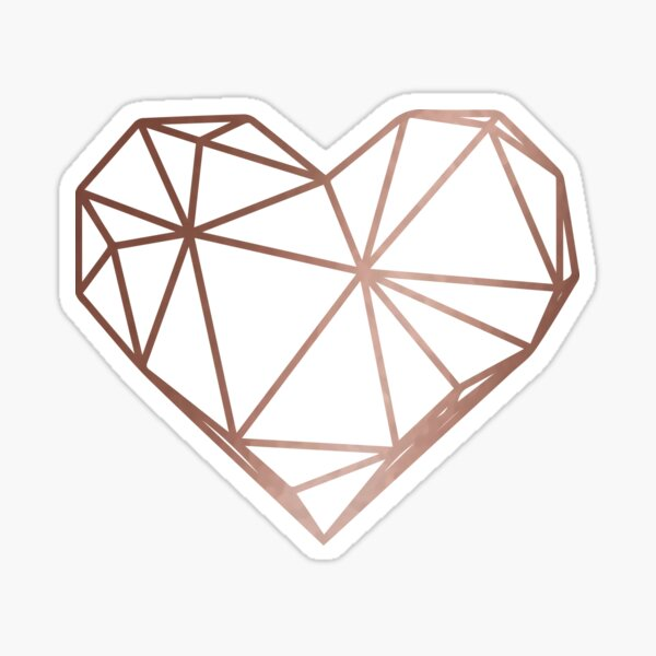 Rose Gold Geometric Heart Sticker