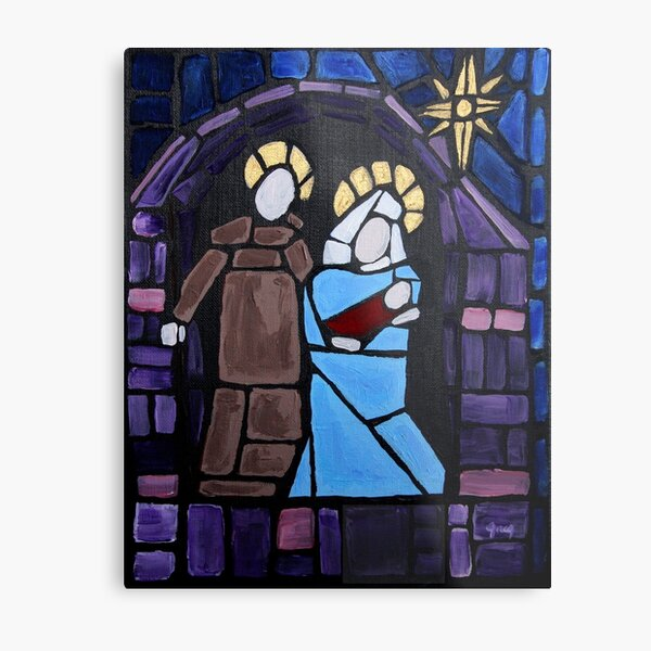 Nativity Stained Glass Metal Print
