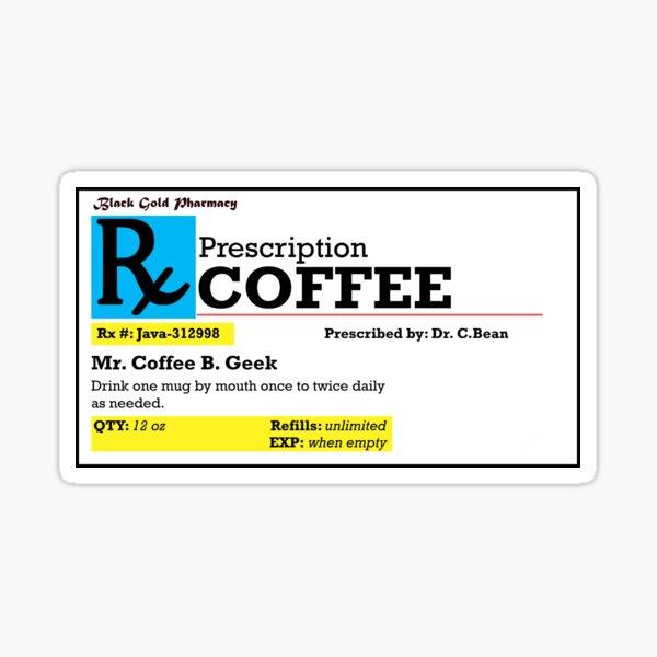 Rx Prescription Coffe Pegatina