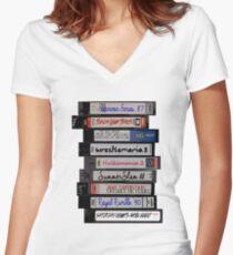 80's Wrestling VHS Tapes Women's Fitted V-Neck T-Shirt